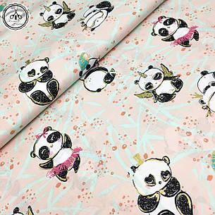 """Польская хлопковая ткань """"панды-ангелочки с золотом (глиттером) на розовом"""", фото 2"""