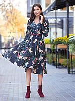 b1a99e52e9c 📐Изящное платье в стиле ретро с цветочным принтом (с карманами