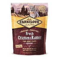 Carnilove Fresh Chicken and Rabbit Gourmand сухой корм с курицей и кроликом для котов 400г