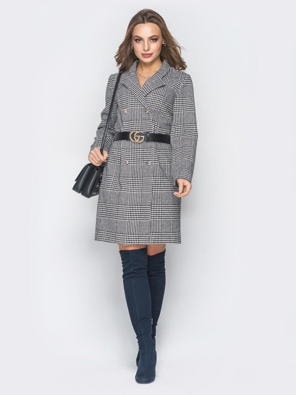 a51a2fc4b35 Платье пиджак в клетку 20311 черно-белое - DS Moda - женская одежда оптом от