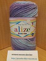 Детская акриловая пряжа (100%акрил,100г/320м) Alize Sekerim bebe batik 3483