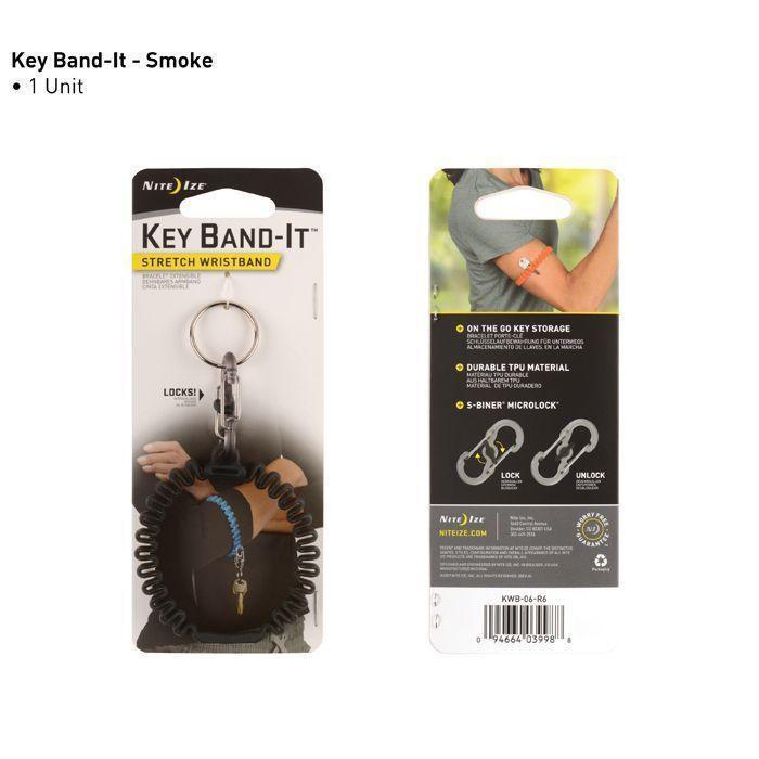 Эластичное наручное крепление для ключей Key Band-It, Smoke