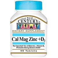 Кальций, магний, цинк, витамин D3, 21st Century Cal Mag Zink+D3, 90 таблеток