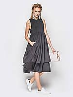 baca94a3979f9da 🔘️Серое летнее платье с воланами / Размер 44,46,48 / P28A7B1 -
