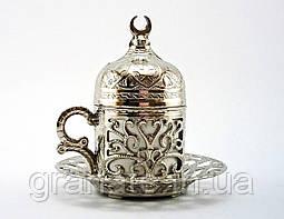 Турецкая чашка Демитассе для кофе 60 мл, цвет: серебро