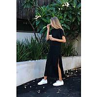 Женское макси платье-рубашка чёрного цвета