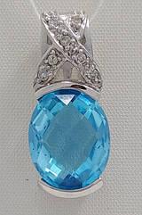 Подвеска золотая с бриллиантами  и топазом Д08328Р