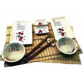 Набор для суши Иероглифы с цветами сакуры 23688В