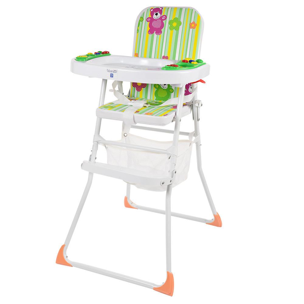 Детский cтульчик  для кормления 2 в 1, M 0405-1, музыкальная панель, с мишками
