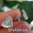 Серебряные серьги пусеты сердца, фото 3