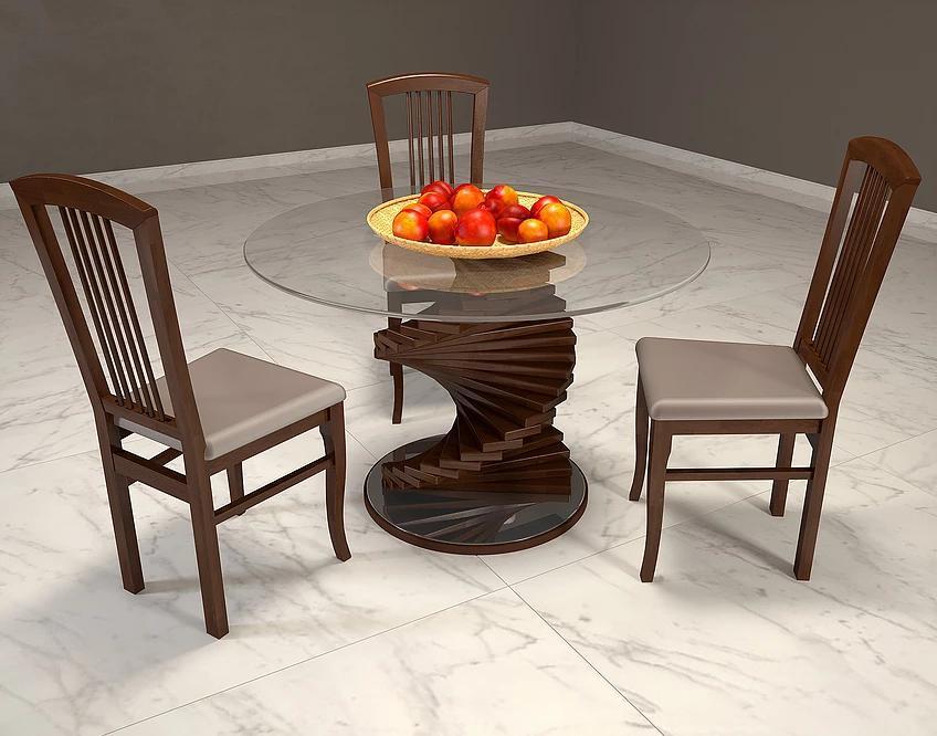 Обеденный стол с закаленным стеклом- Шедевр.