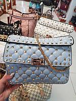 Женская сумка-клатч копия Валентино Valentino качественная эко-кожа цвет голубой