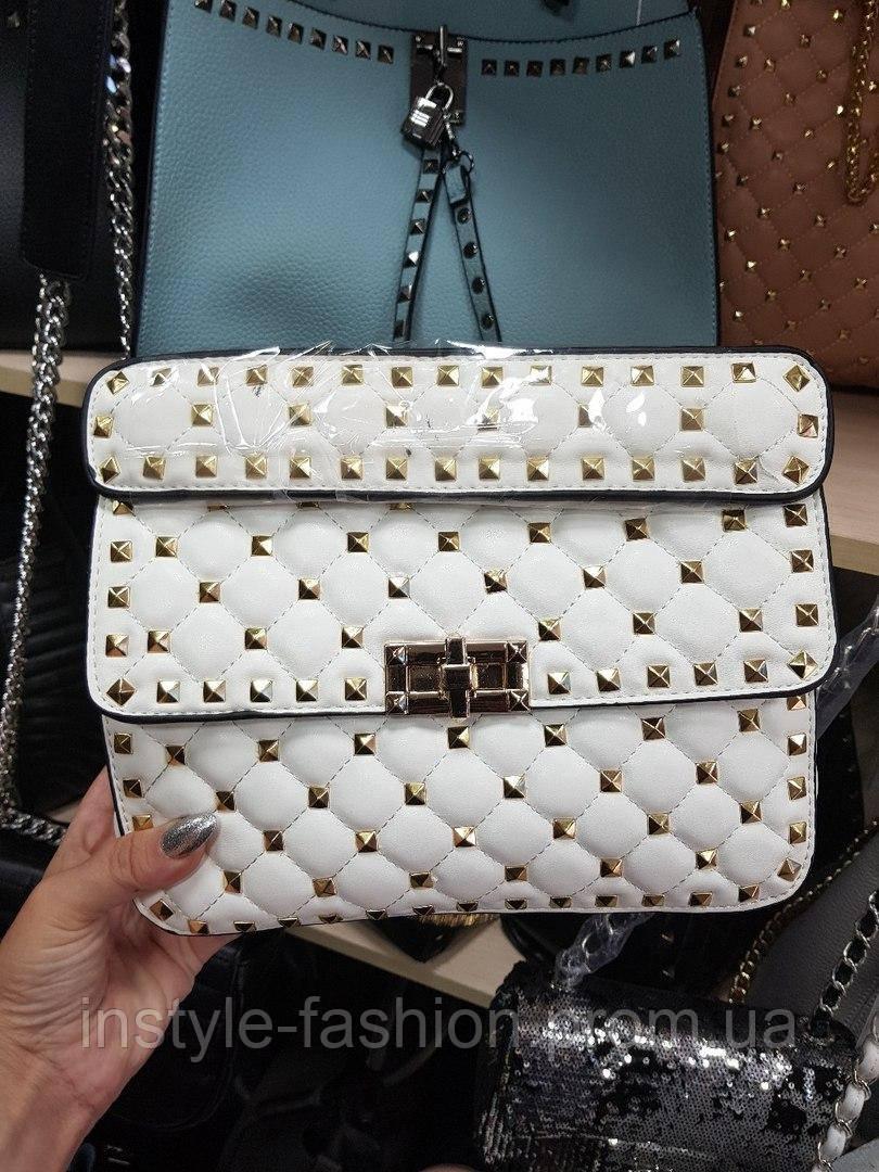 4244e1c4600f Женская сумка-клатч копия Валентино Valentino качественная эко-кожа цвет  белый