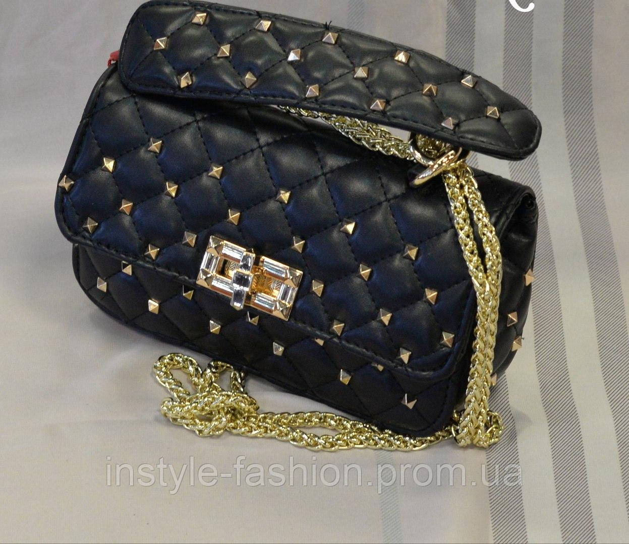 a9577c68c112 Женская сумка-клатч копия Валентино Valentino качественная эко-кожа черная