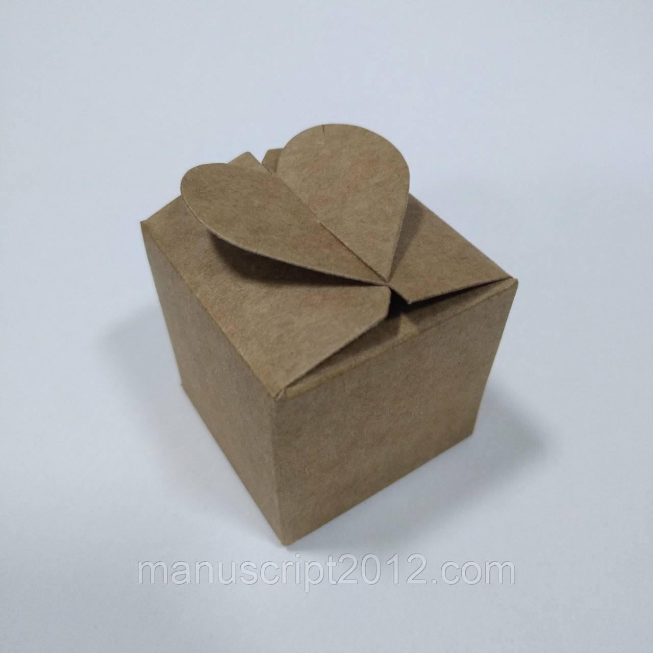 """Коробка крафт на 1 конфетку с замком """"сердечко"""""""