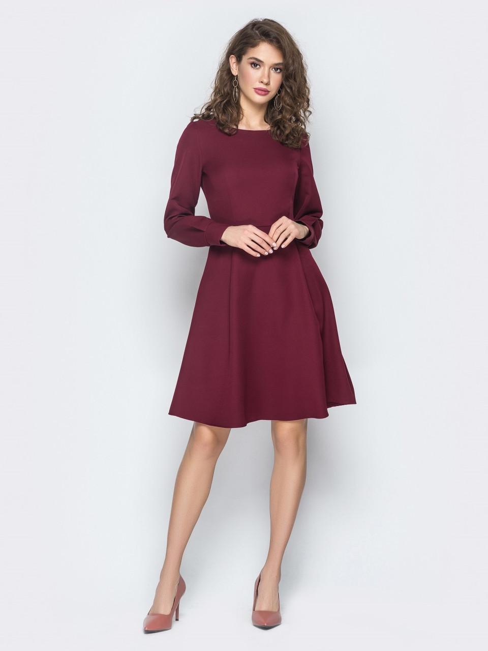 75280ea61f80dae 📍Бордовое платье из костюмной ткани (приталенное, с молнией) / 44 ...