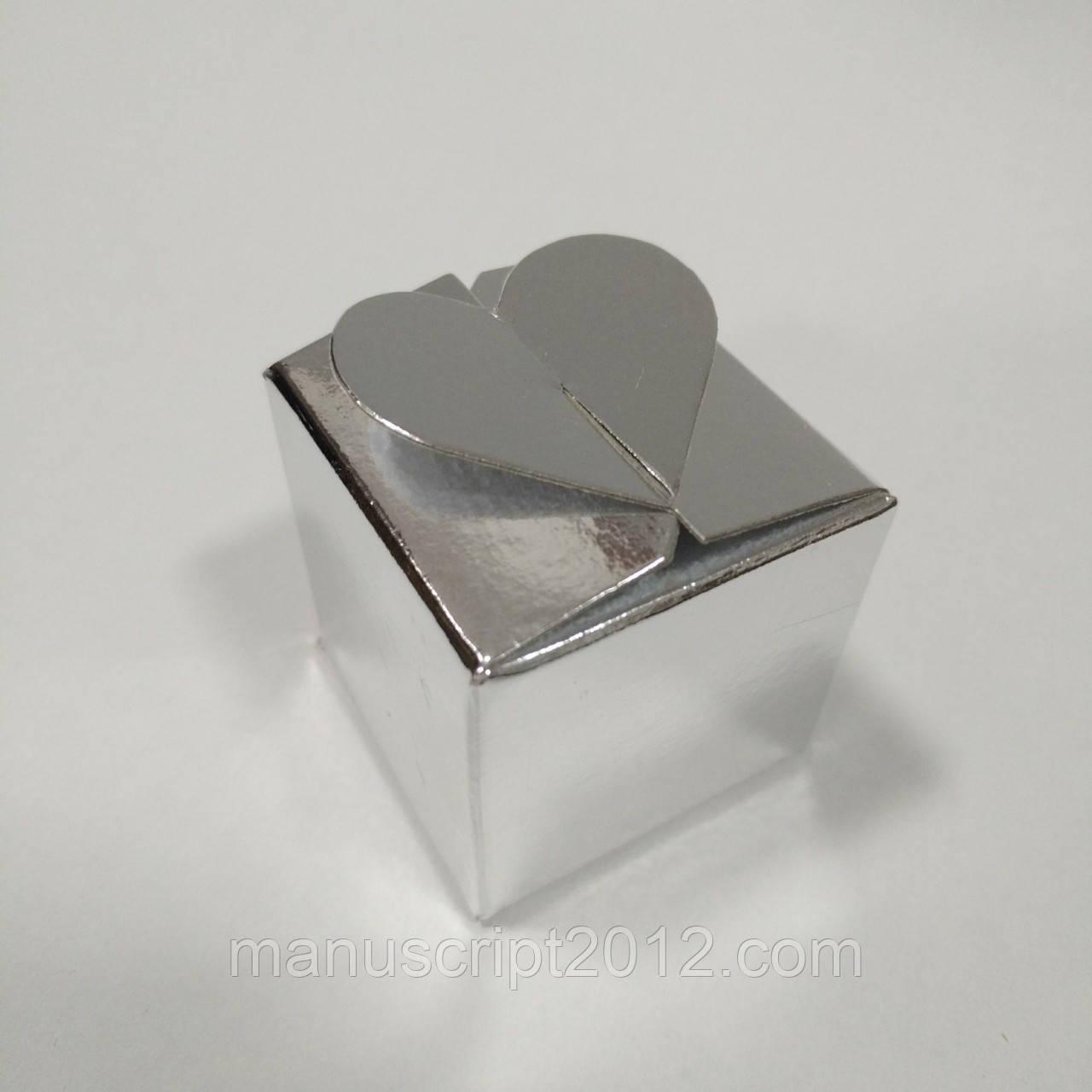 Коробка с замком «Сердечко» (серебряный) 40х40х40 мм.