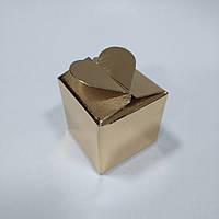 Коробка с замком «Сердечко» (золотая) 40х40х40 мм., фото 1