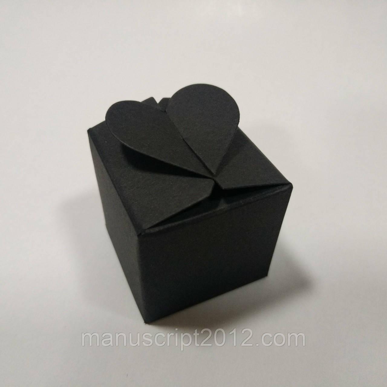 Коробка с замком «Сердечко» (черная) 40х40х40 мм.