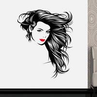 Виниловая наклейка Красотка (силуэт, лицо, пленка самоклеющаяся для парикмахерской, салона красоты)