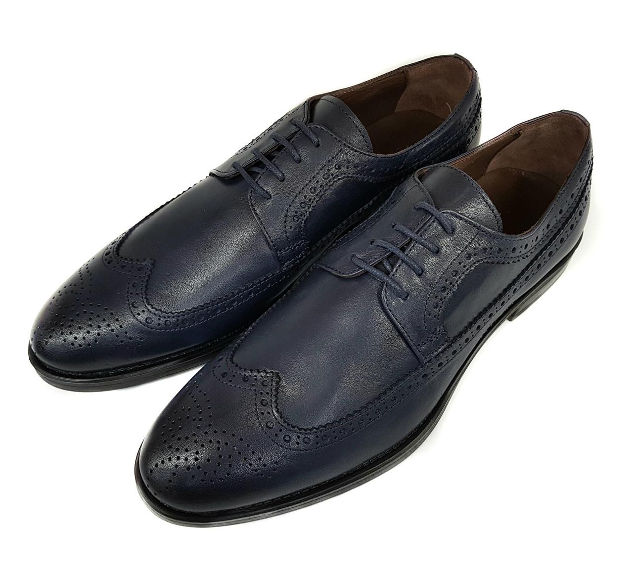 Мужские кожаные туфли оксфорды Gartiero синие