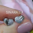 Серьги гвоздики серебряные сердечки - Серебряные Сердца серьги пусеты, фото 2