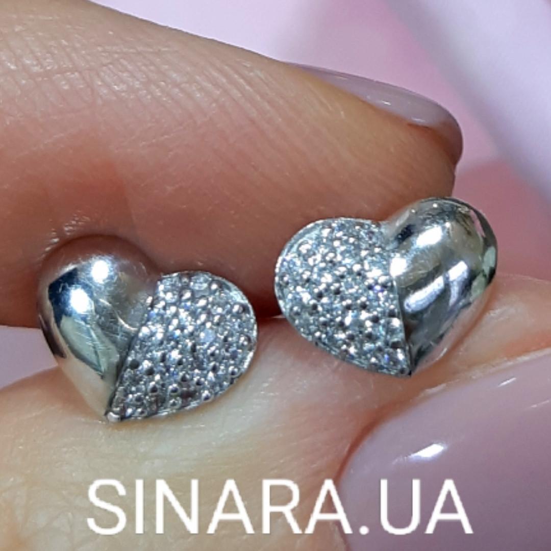 Серьги гвоздики серебряные сердечки - Серебряные Сердца серьги пусеты
