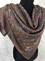 Украинский платок коричневого цвета из полушерсти с цветочным принтом 80*80 см (1)