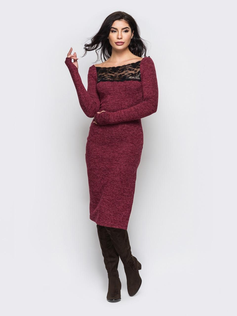 a0417222320 🔘️Облегающее платье-миди с кружевной вставкой (бордовое