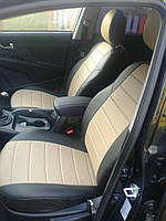 Чехлы на сиденья Шевроле Авео Т200 (Chevrolet Aveo T200) (модельные, кожзам, отдельный подголовник)