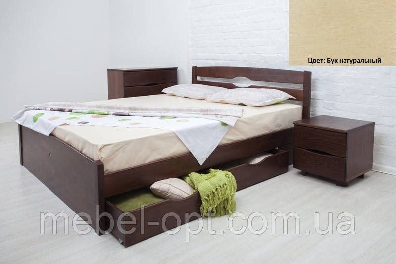 Кровать полуторная деревянная Ликерия Люкс с ящиками 120х200, цвет бук натуральный