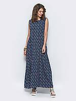 2101c712c7c6f4e 🔘️Легкое платье свободного кроя с присборкой на талии ( принт, без  рукавов) /