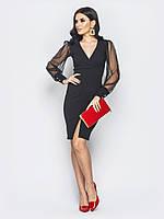 869b2bff5d2 ◼Элегантное черное платье с V-образным вырезом (с втачным поясом
