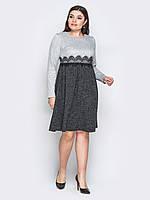 d3277c44c1d 📍Серое платье из ангоры с кружевом (с расклешенной юбкой