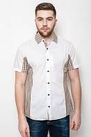 Оригинальная белая мужская летняя рубашка с коротким рукавом с бежевой клеткой по бокам
