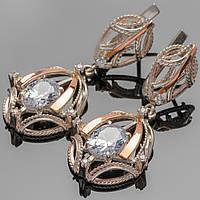 Серьги серебряные 925 пробы с золотыми вставками арт. 256с