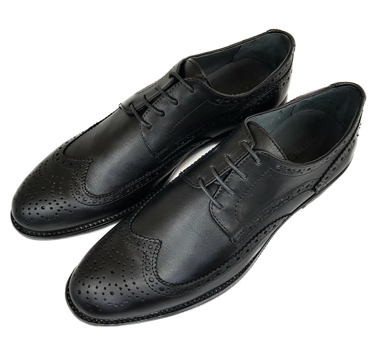 Мужские кожаные туфли оксфорды Gartiero черные SH0001/01