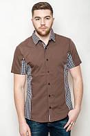 Однотонная мужская летняя рубашка с коротким рукавом коричневая с клеткой по бокам