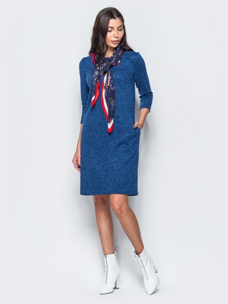 6de0cf7c145 🔘️Теплое трикотажное платье с рукавом 3 4   Размер 44