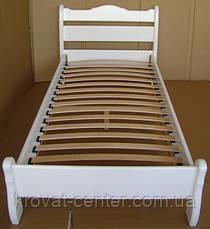 """Белая односпальная кровать """"Грета Вульф"""". Массив - сосна, ольха, береза, дуб., фото 3"""