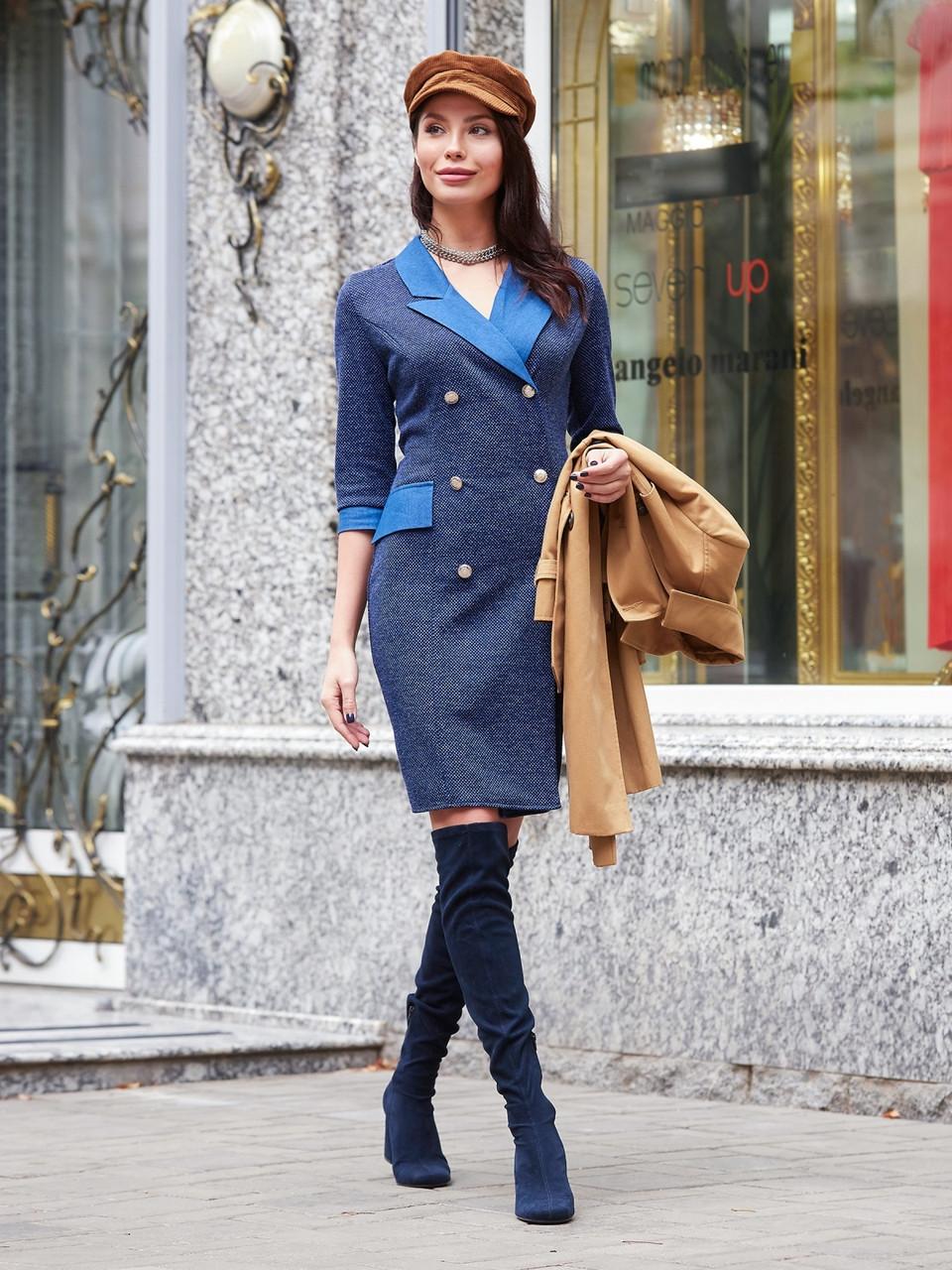 6ccce34d0d0 ◼Трикотажное платье-пиджак на золотых пуговицах (синее
