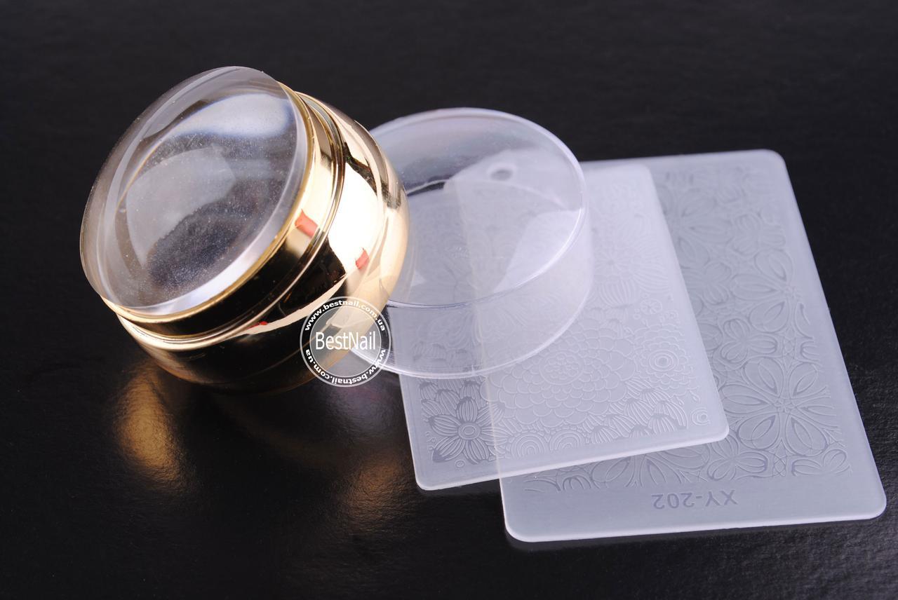 Штамп для стемпинга силиконовый + 2 пластины (прозрачный)