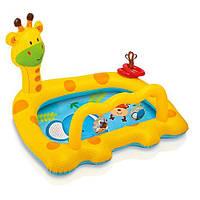 Бассейн Жираф надувной детский с погремушками INTEX 57105
