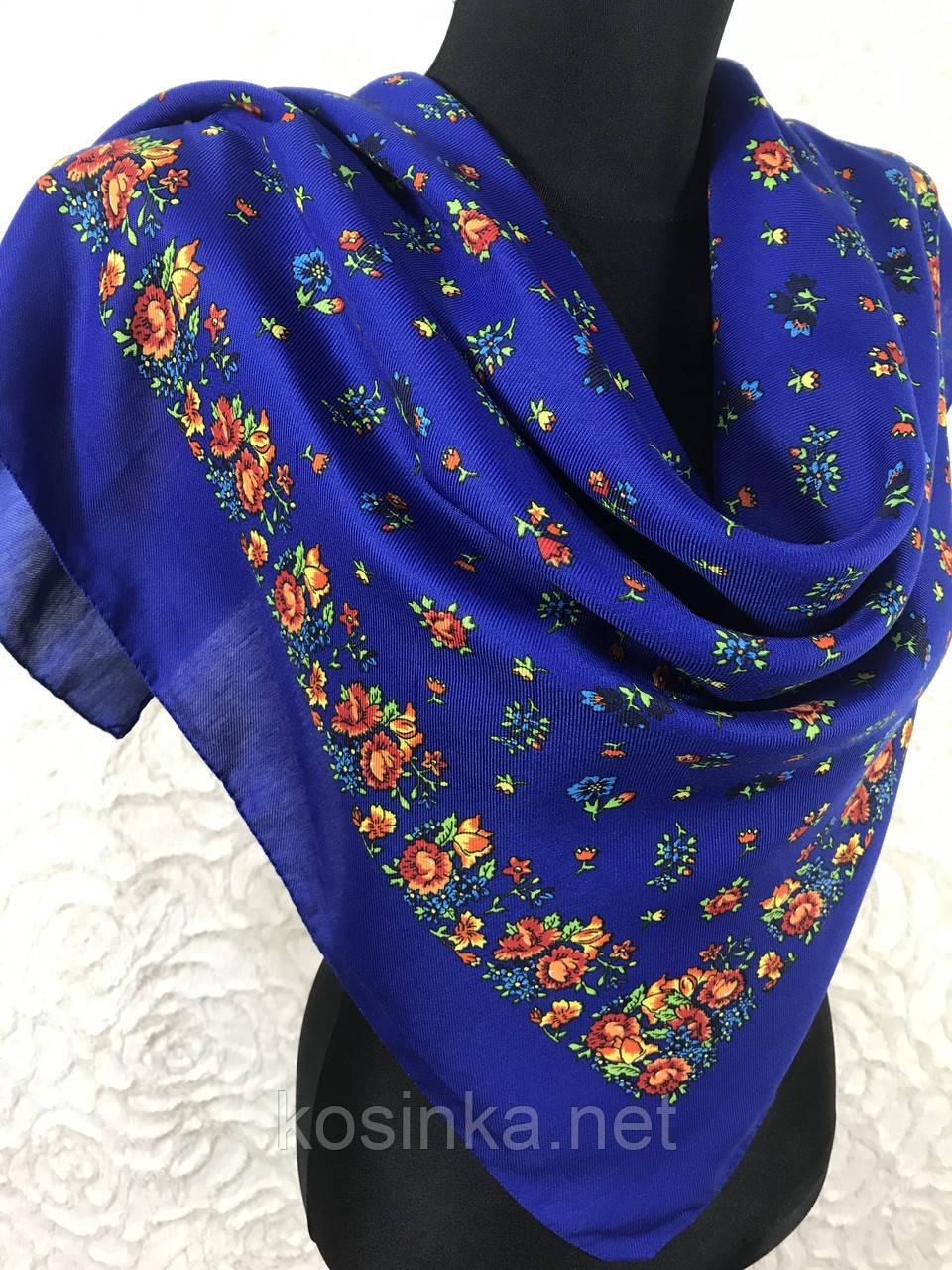 Жіночий український хустку в синьому кольорі 80х80 см (кол.6)