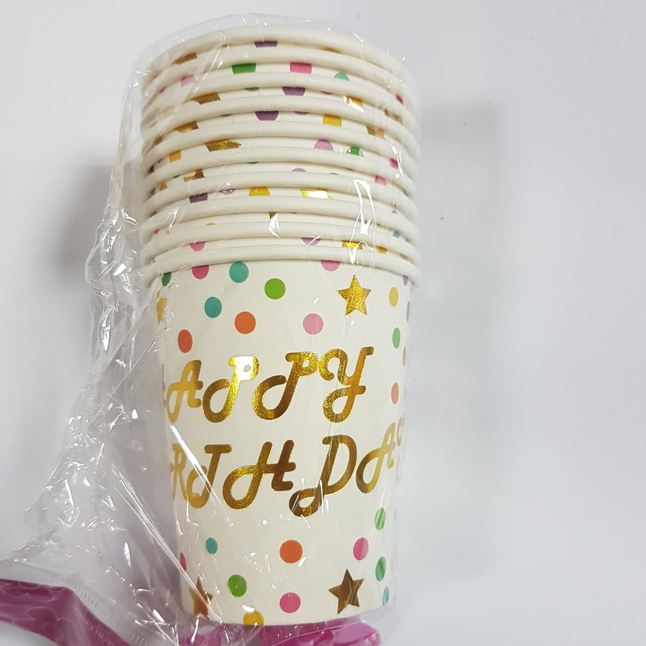 Стаканчики бумажные Happy (золото) 10шт.