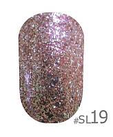 Гель-лак Naomi Self Illuminated SI 19, цвет - розовые и бело-золотистые блестки и слюда, плотный, 6 мл.