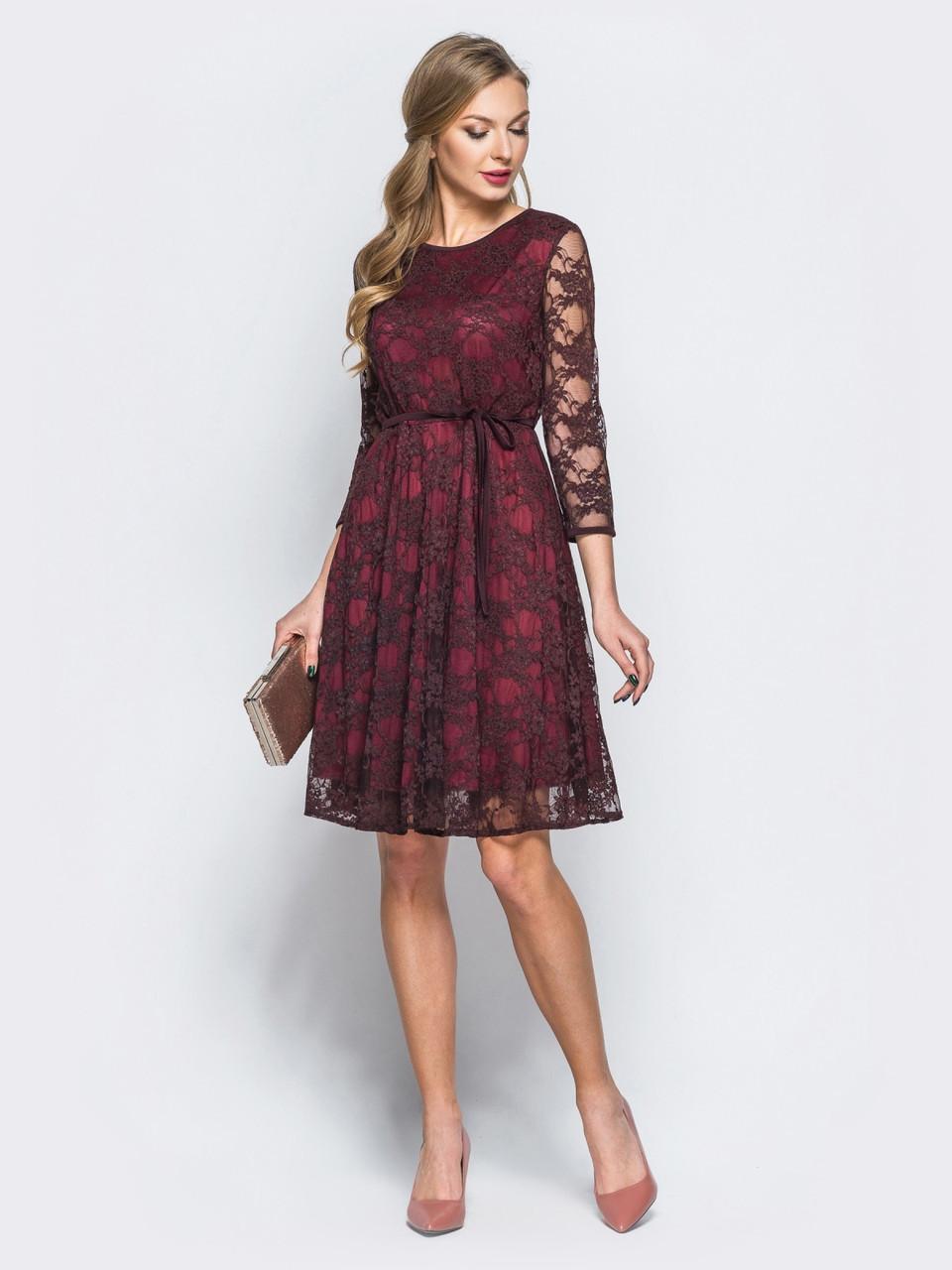 bc1570d8591 🔰Кружевное платье-миди винного цвета с рукавом 3 4 (гипюровое ...