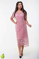 Прекрасное гипюровое платье с асимметричным подолом, батал, фото 1