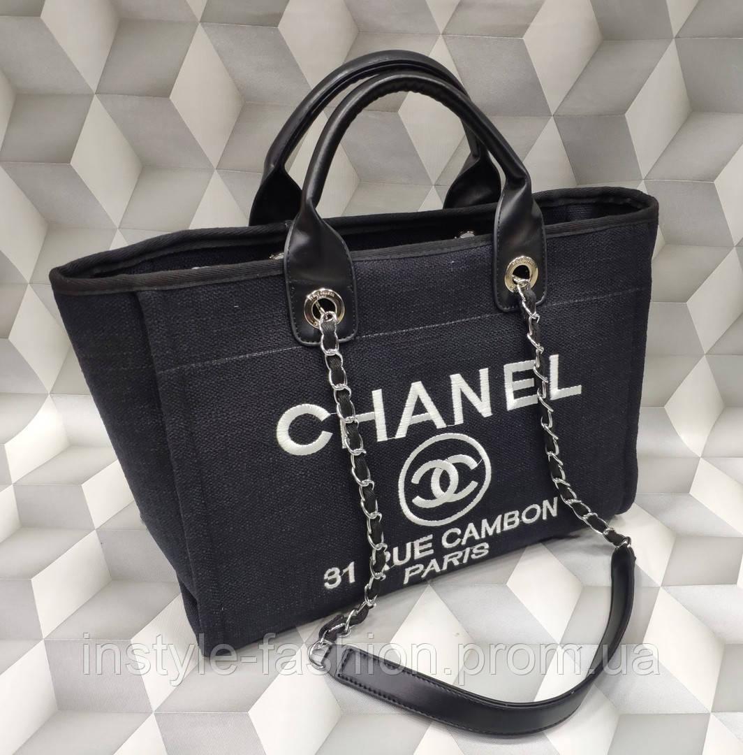 2652f03f439b Женская сумка копия Шанель Chanel ткань текстиль черная: купить ...