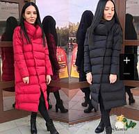 Жіноча зимова подовжена куртка з накладними кишенями Смайл